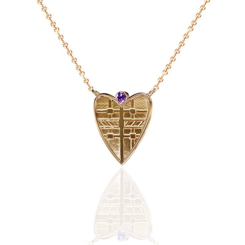 Fluid Tartan Heart Necklace with Amethyst in Solid Gold