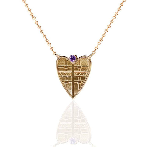 Fluid Tartan Solid Heart Necklace with Amethyst in Yellow Gold Vermeil