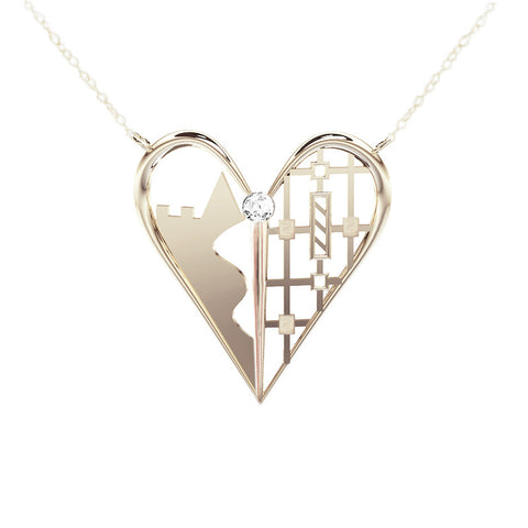 Edinburgh Castle Tartan Heart Necklace