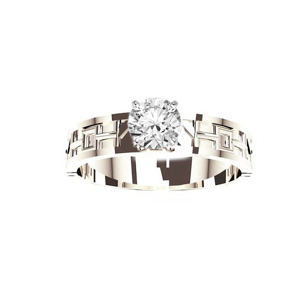 Unique Tartan Print Engagement Ring in White Gold