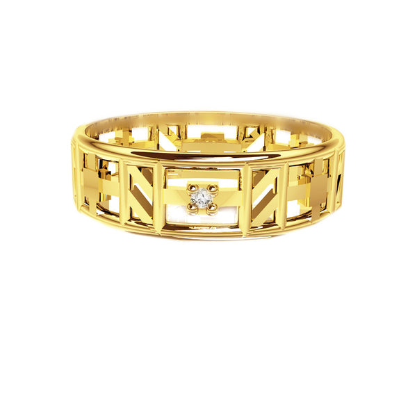 Unique Tartan Print Open Scottish Diamond Wedding Ring in Yellow Gold