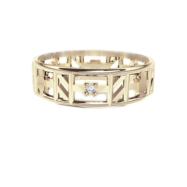 Unique Tartan Print Open Scottish Diamond Wedding Ring in White Gold