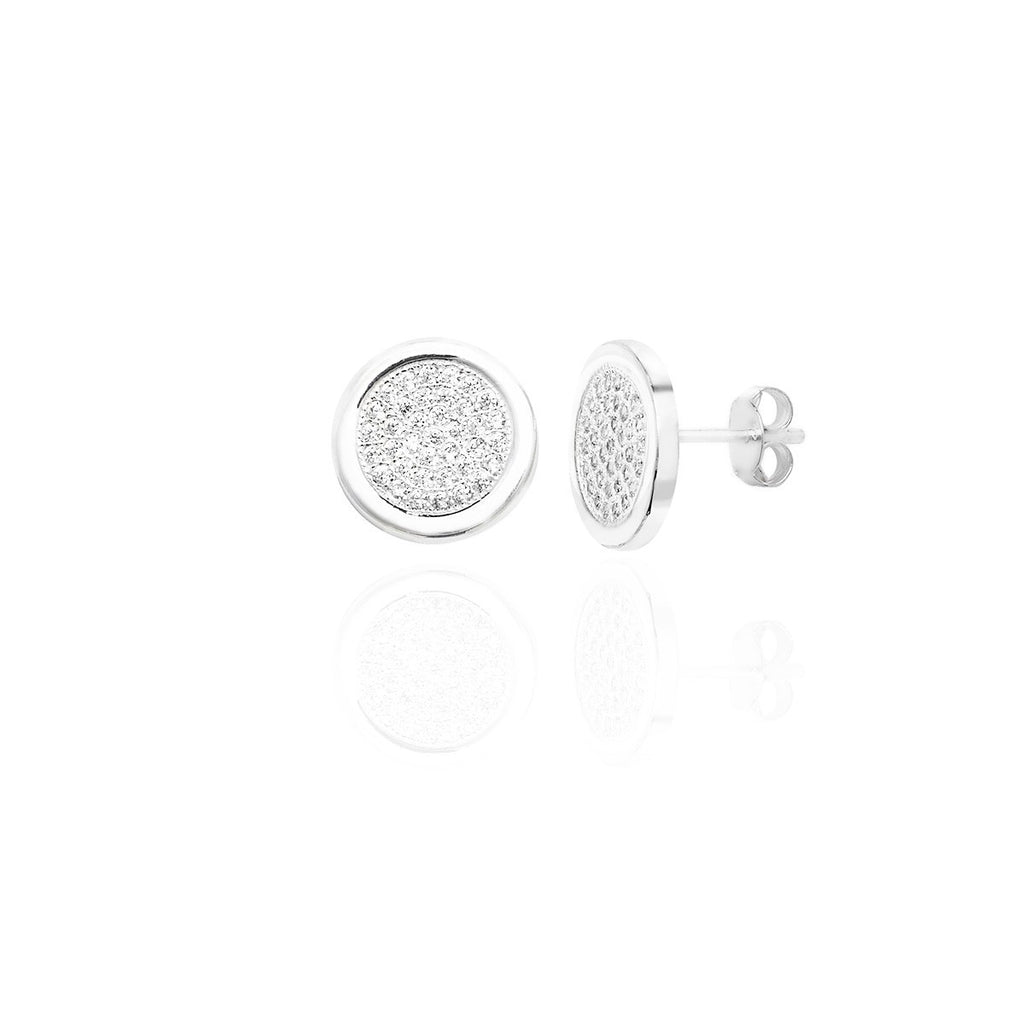 Sterling Silver Pave Disc Studs with Pave set CZ's