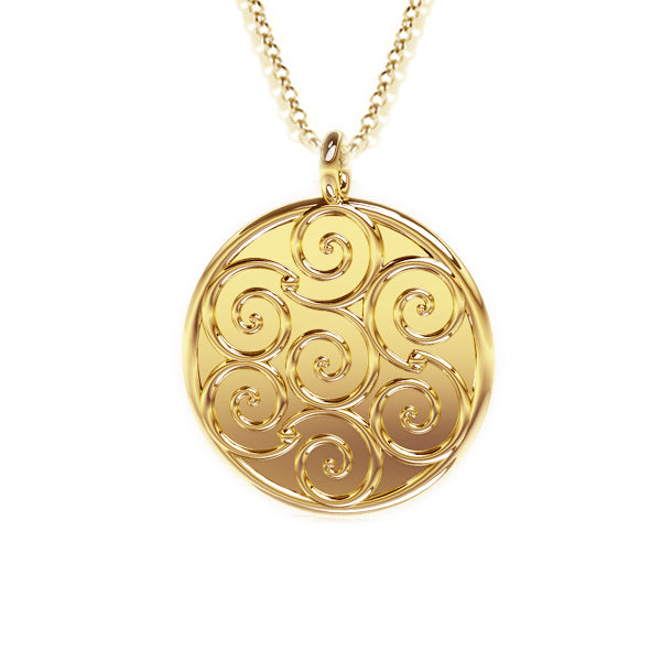 Celtic Spirals Pendant in gold