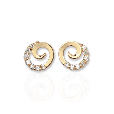 9 ct Yellow Gold Spiral Studs with Pave Set CZ's