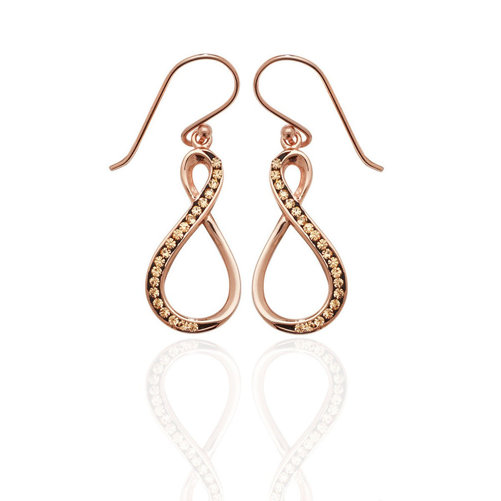 9 ct Rose Gold Vermeil Infinity Drop Earrings with Champagne CZ's