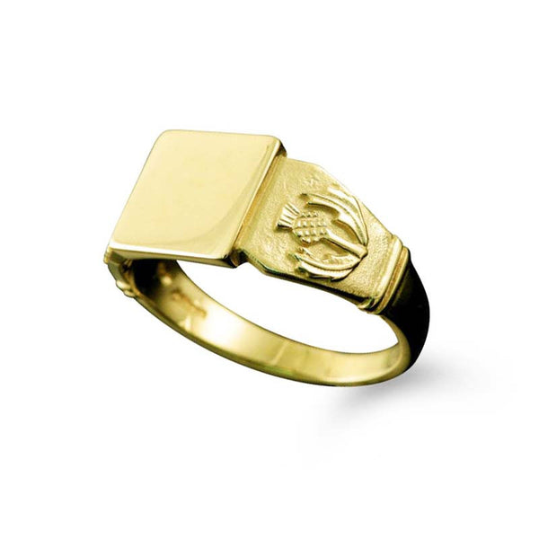 Small Scottish Thistle Signet Ring Yellow Gold