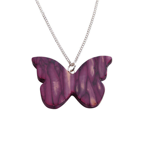 Heathergems Butterfly Pendant Necklace In Silver