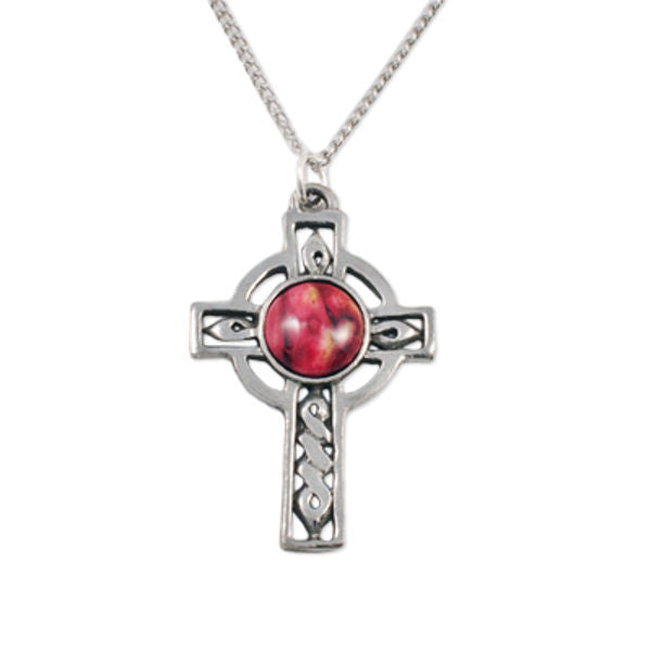 Heathergems Celtic Cross Pendant Necklace In Pewter
