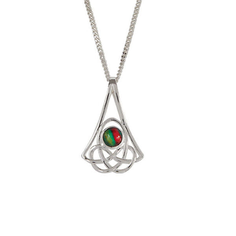 Heathergems Celtic Knotwork Drop Pendant Necklace In Silver