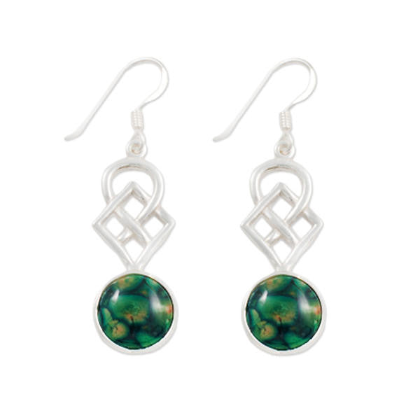 Heathergems Celtic Square Knotwork Drop Earrings In Silver