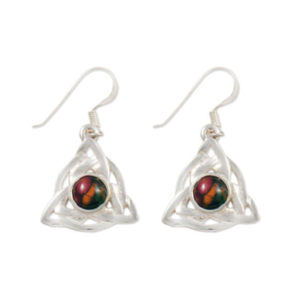 Heathergems Celtic Triangular Triskele Earrings In Silver