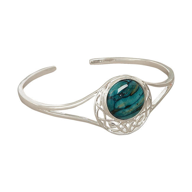 Heathergems Cormag Celtic Knot Bangle In Silver