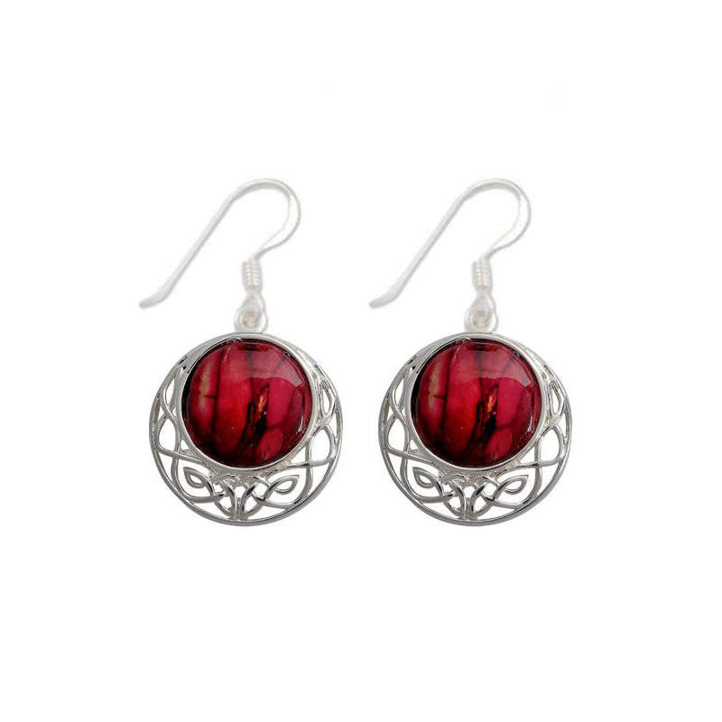Heathergems Cormag Celtic Knot Drop Earrings In Silver