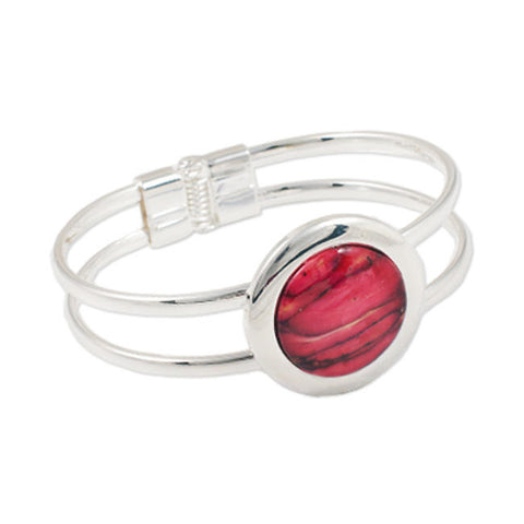 Heathergems Double Band Large Round Gem Bangle In Silver