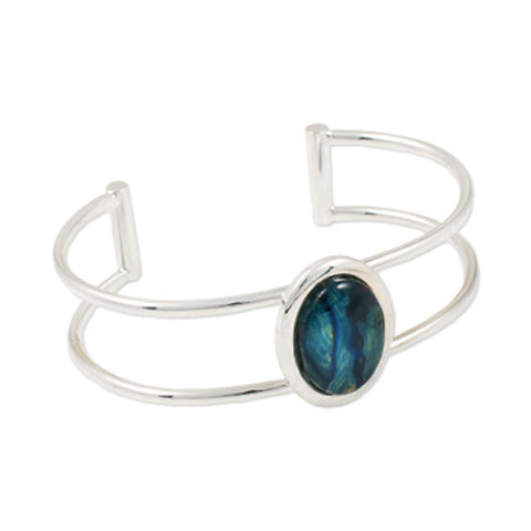 Heathergems Double Band Oval Set Bangle In Silver