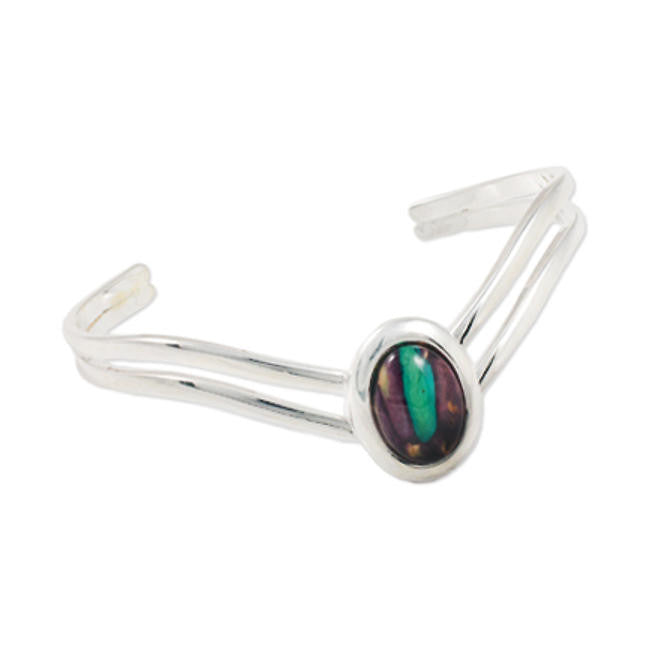 Heathergems Double Band Oval V Bangle In Silver
