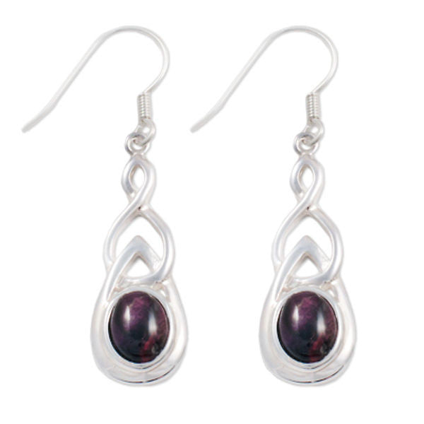 Heathergems Drop Celtic Earrings In Silver