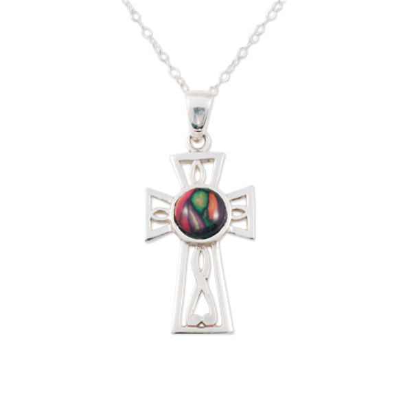 Heathergems Gothic Celtic Cross Pendant Necklace In Silver