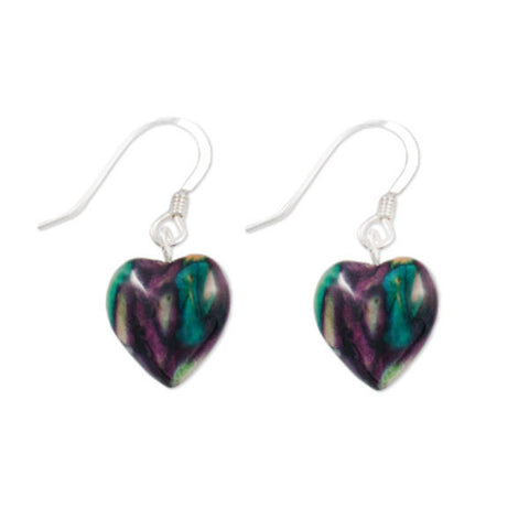 Heathergems Heart Drop Earrings In Silver
