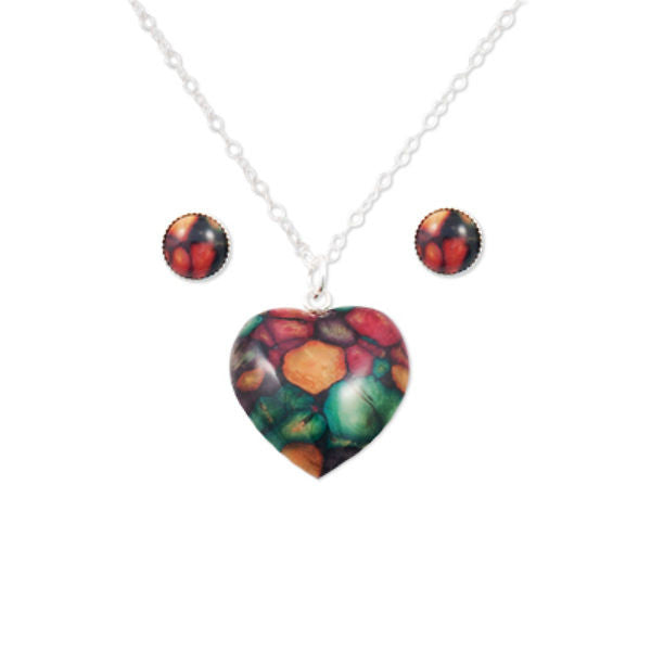 Heathergems Heart Pendant Necklace and Round Stud Earrings Set In Silver