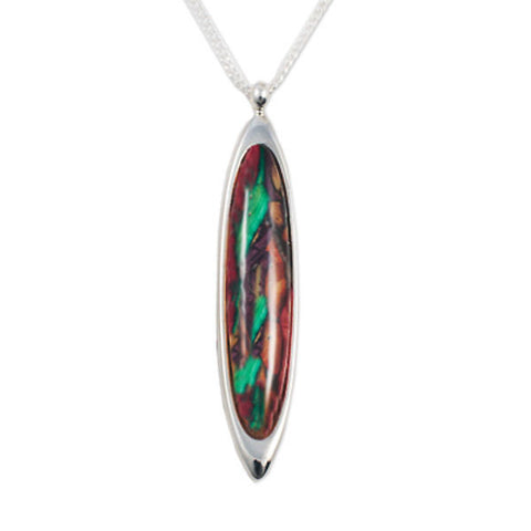 Heathergems Large Long Oval Pendant Necklace In Silver