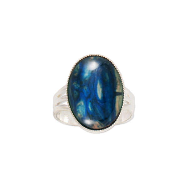 Heathergems Large Milled Edge Round Ring in Silver & Blue