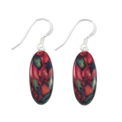 Heathergems Large Oval Drop Earrings In Silver