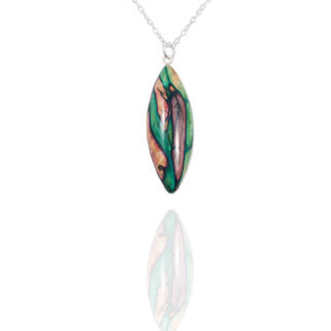 Heathergems Long Oval Pendant Necklace In Silver