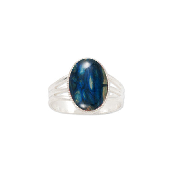 Heathergems Medium Milled Edge Round Ring in Silver & Blue