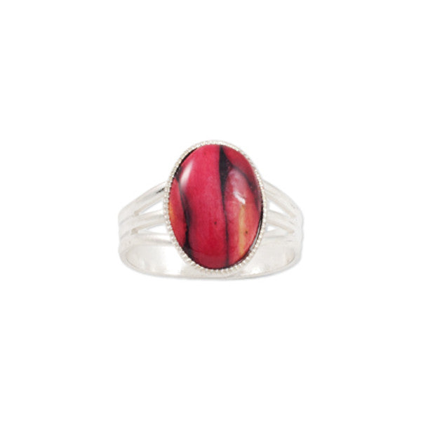 Heathergems Medium Milled Edge Round Ring in Silver & Red
