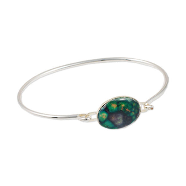 Heathergems Milled Edge Oval Hook Bangle In Silver