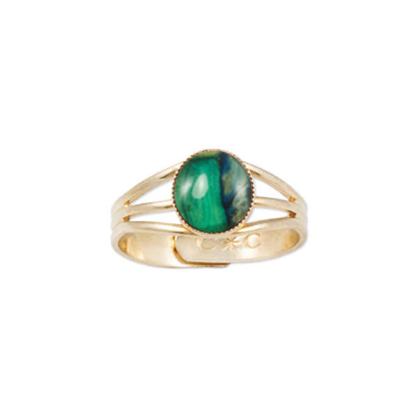 Heathergems Milled Edge Round Ring in Gilt