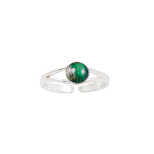 Heathergems Milled Edge Round Ring in Silver & Green