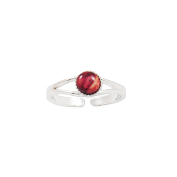 Heathergems Milled Edge Round Ring in Silver & Red