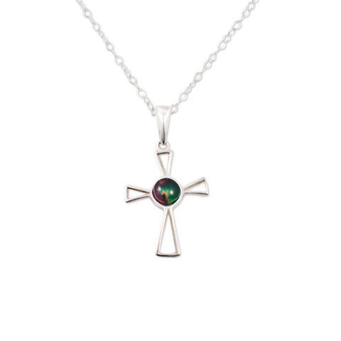 Heathergems Open Cross Pendant Necklace In Silver