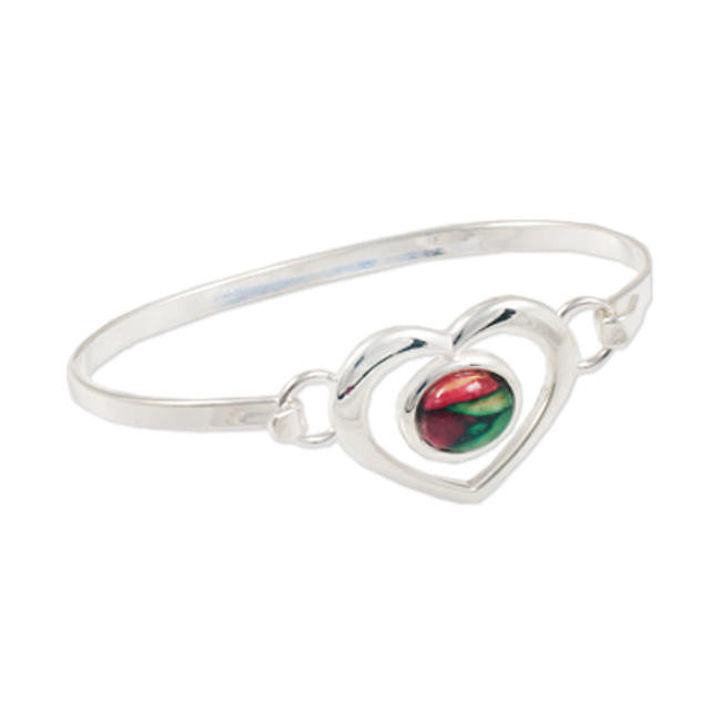 Heathergems Oval Gem Heart Bangle In Silver