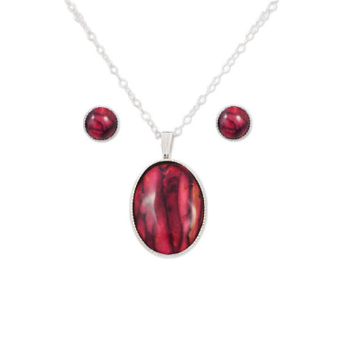 Heathergems Oval Pendant Necklace and Stud Earrings Set In Silver