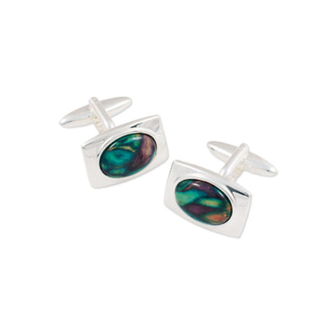 Heathergems Oval Rectangle Set Cufflinks In Silver