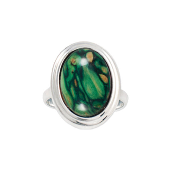Heathergems Oval Set Ring in Silver & Green