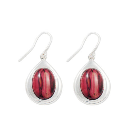 Heathergems Oval Teardrop Set Drop Earrings In Silver