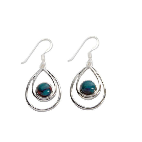 Heathergems Peacock Drop Earrings In Silver
