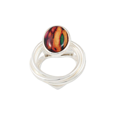Heathergems Piped Round Scarf Ring In Silver