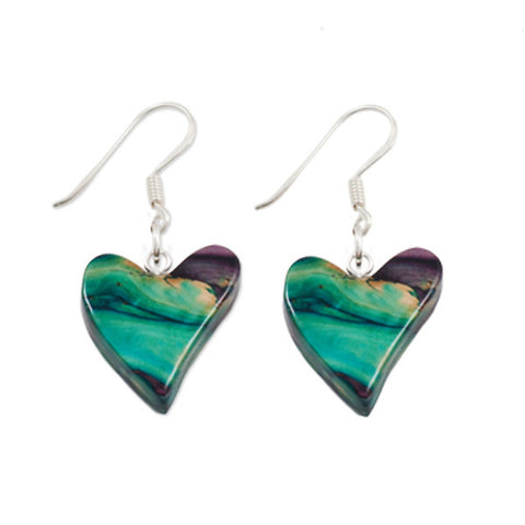 Heathergems Quirky Heart Earrings In Silver