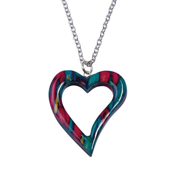 Heathergems Quirky Open Heart Pendant Necklace In Silver