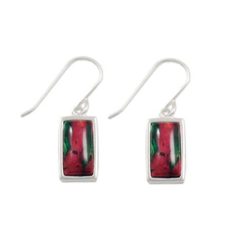 Heathergems Rectangular Drop Earrings In Silver