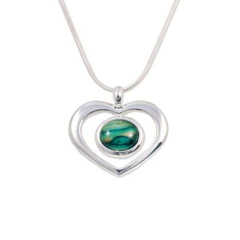 Heathergems Round Open Heart Pendant Necklace In Silver