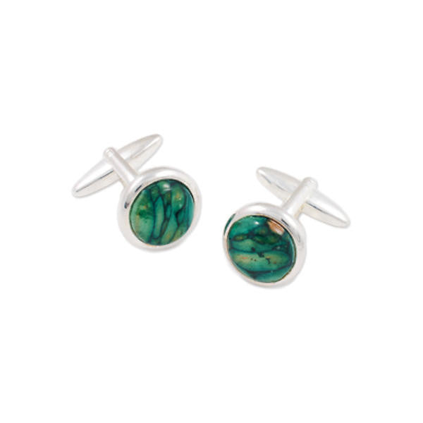 Heathergems Round Set Cufflinks In Silver
