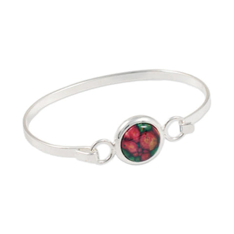 Heathergems Round Set Oval Hook Bangle In Silver