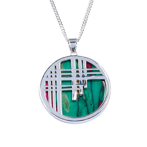 Heathergems Round Tartan Pendant Necklace In Silver